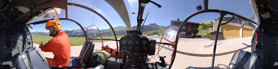 360° visite virtuelle treuillage alouette III sécurité civile