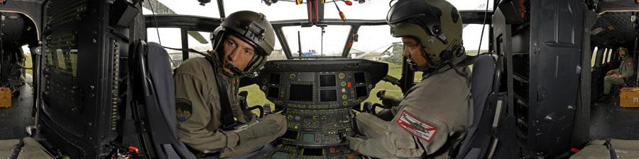 Visite virtuelle équipage armée de l'air Suisse décollage super puma