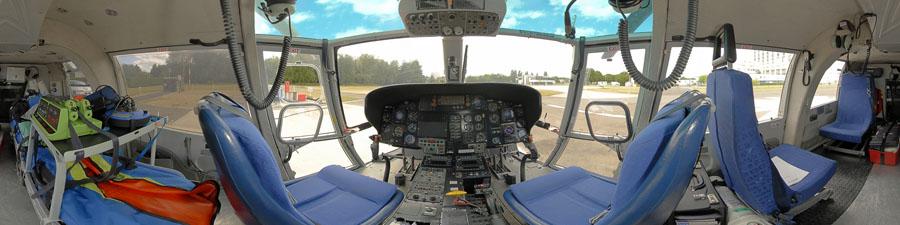 360° hélicoptère SAMU Dauphin découvrir le cockpit