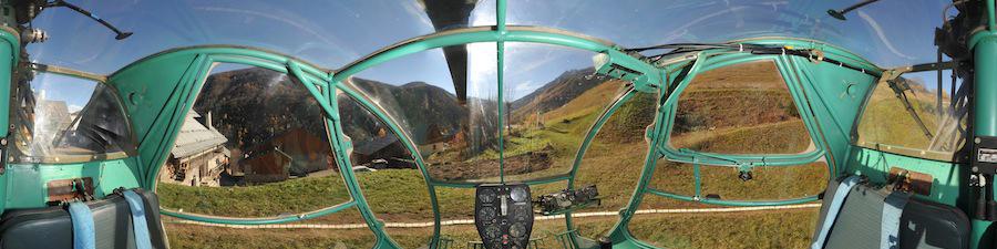 Vue 360° réalité virtuelle du cockpit hélicoptère Djinn