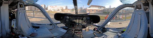 visite virtuelle hélicoptère SAMU vue 360° intérieur cockpit