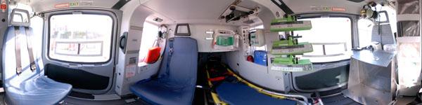 visite virtuelle hélicoptère SAMU vue 360° intérieur