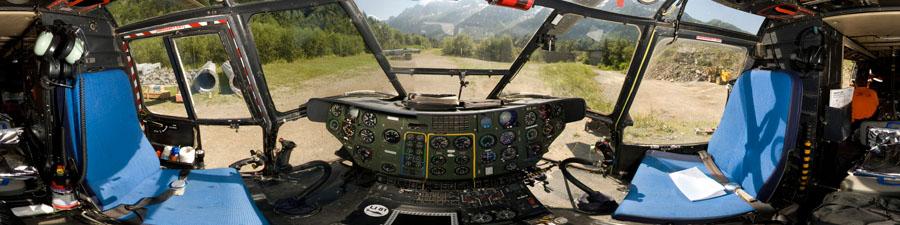 visite virtuelle hélicoptère super puma heliswiss international travaux en montagne