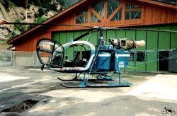LAMA SA315 B . F-BPFP . EDF . Posé sur la base de secours en montagne de Modane (Savoie)