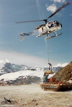 LAMA SA315 B . F-GIBK . Société CMBH . Travail aérien - Le Tour Chamonix (74)