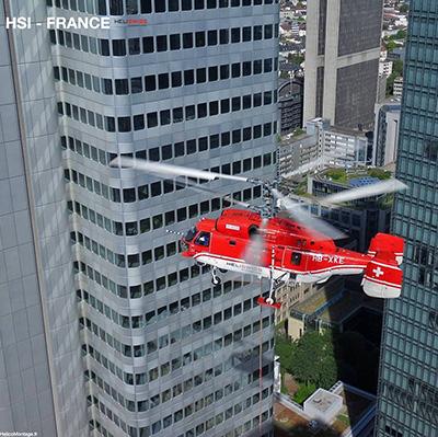 Hélicoptère lever climatiseur CTA Transformateur Clim Roof-top en milieu urbain dans une ville hélicoptère Kamov KA32