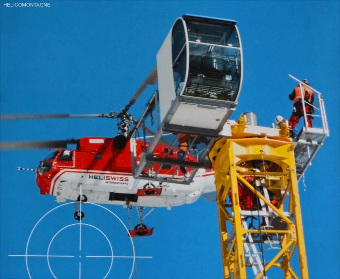 Kamov héliportage grue Montage héliportage d'une grue sur un site compliqué