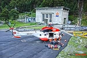 heliportage hélicoptère super puma pour EDF, centrale edt transport de charge lourde
