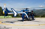 Choucas 04 EC145 F-MJBD Gendarmerie, au décollage pour une mission de secours, visite avant la mise en route