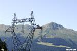 Vue sur le chantier du tirage de cable THT