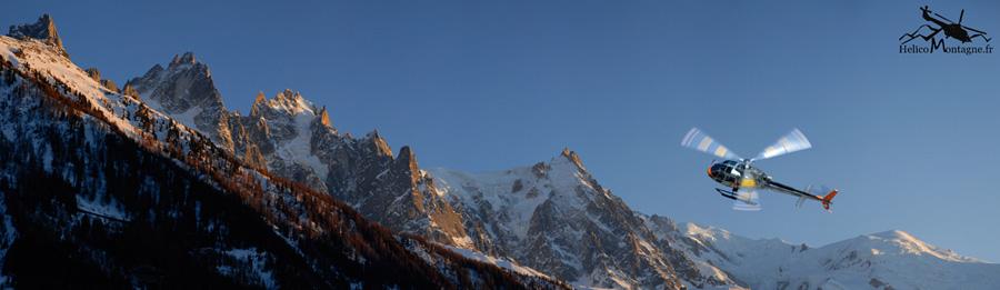 Hélicoptère CMBH et Massif du Mont-Blanc