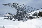 Pylone mis à terre pendant la tempête de neige 2013
