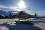 Les deux hélicoptères de secours sur la base d'Avoriaz EC135 T2 F-HMBH