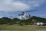 LAMA SA 315B Air green au décollage de Krrabe Albanie