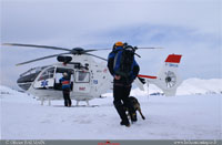 départ sur une avalanche avec maitre chien, arva, recco